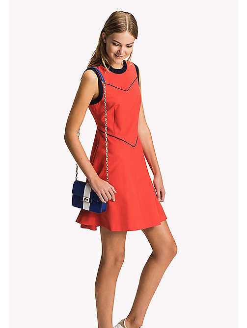 TOMMY HILFIGER Fitted Cotton Dress - FLAME SCARLET - TOMMY HILFIGER Midi - main image