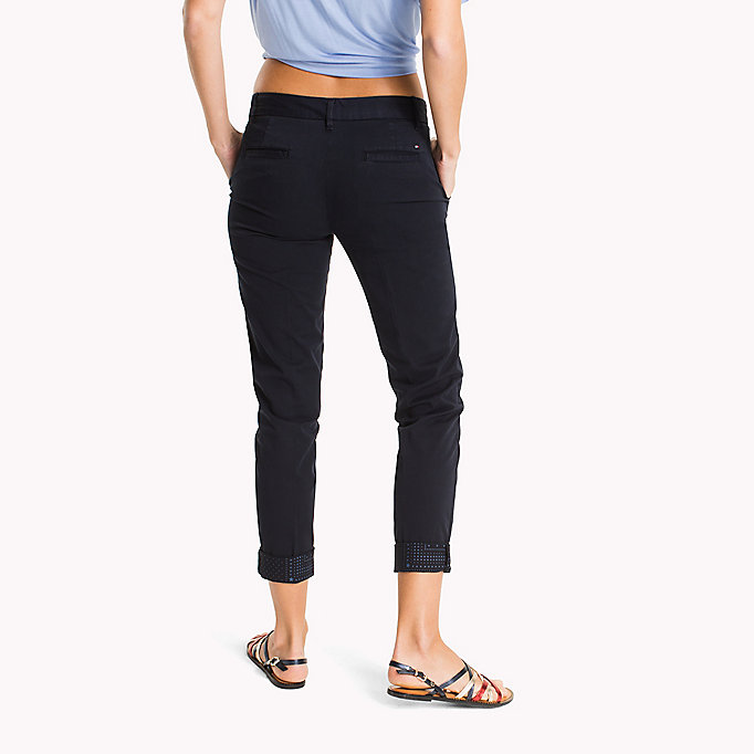 TOMMY HILFIGER Cotton Twill Skinny Fit Chinos - DUTCH BLUE - TOMMY HILFIGER Women - detail image 1