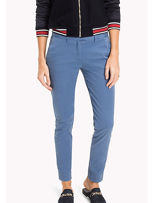 TOMMY HILFIGER Cotton Twill Skinny Fit Chinos - DUTCH BLUE - TOMMY HILFIGER Trousers - main image