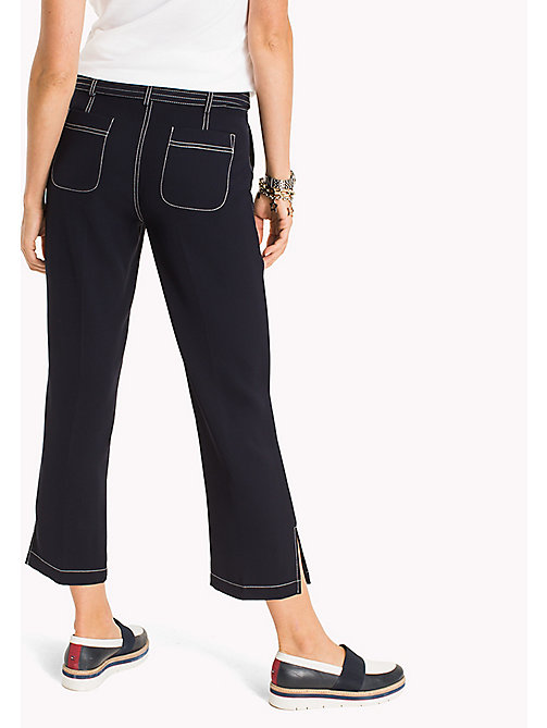 TOMMY HILFIGER Cropped Contrast Trim Trousers - MIDNIGHT - TOMMY HILFIGER The Office Edit - detail image 1