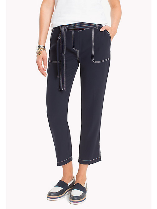 TOMMY HILFIGER Cropped Contrast Trim Trousers - MIDNIGHT - TOMMY HILFIGER The Office Edit - main image
