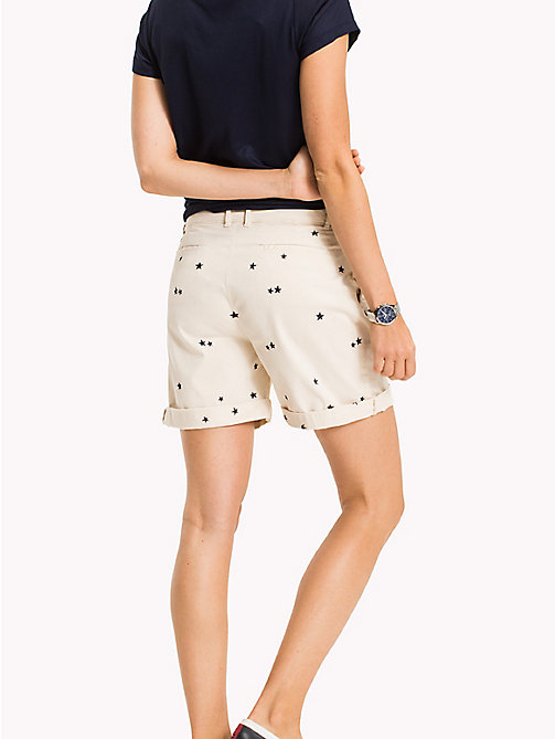 TOMMY HILFIGER Embroidered Regular Fit Shorts - KEENA STAR EMB EGRET / TAPIOCA - TOMMY HILFIGER Trousers & Shorts - detail image 1