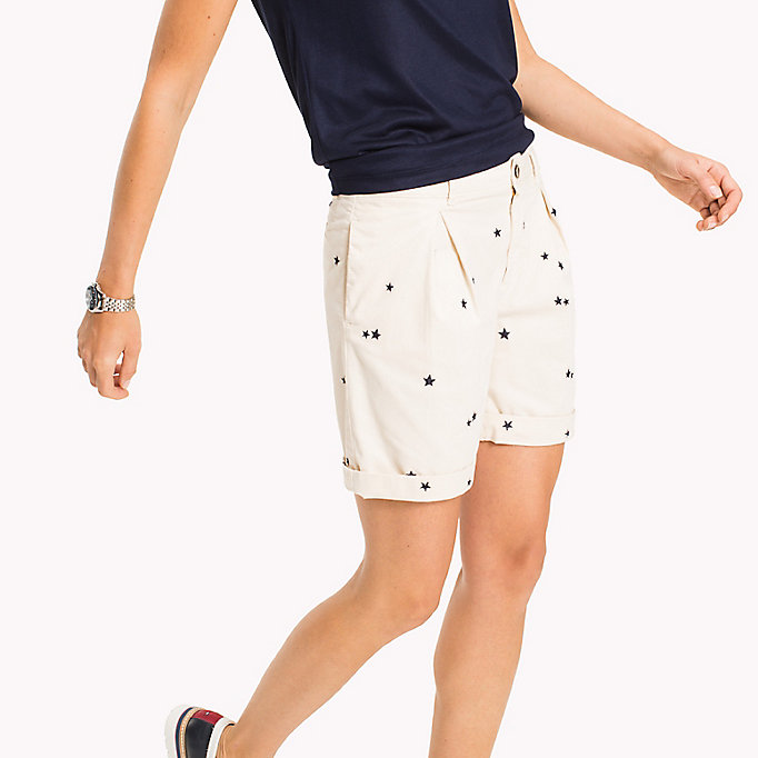 TOMMY HILFIGER Embroidered Regular Fit Shorts - KEENA STAR EMB EGRET / SUNSHINE - TOMMY HILFIGER Femmes - image détaillée 2