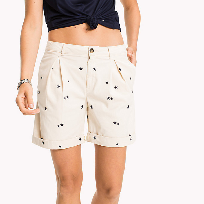 TOMMY HILFIGER Embroidered Regular Fit Shorts - KEENA STAR EMB EGRET / SUNSHINE - TOMMY HILFIGER Femmes - image détaillée 3