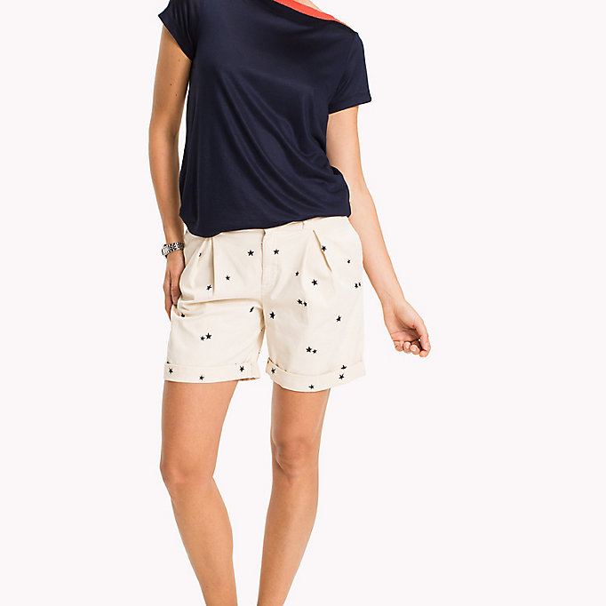 TOMMY HILFIGER Embroidered Regular Fit Shorts - KEENA STAR EMB EGRET / SUNSHINE - TOMMY HILFIGER Femmes - image principale