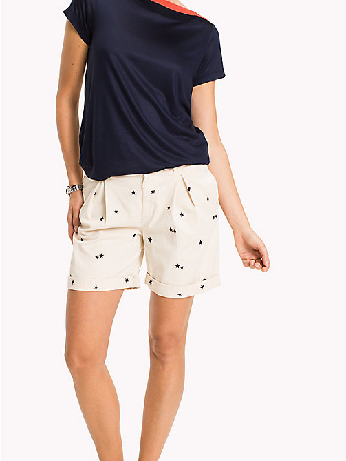 TOMMY HILFIGER Embroidered Regular Fit Shorts - KEENA STAR EMB EGRET / TAPIOCA - TOMMY HILFIGER Trousers & Shorts - main image