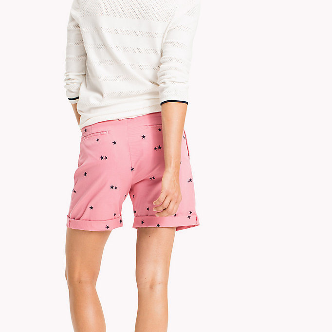 TOMMY HILFIGER Embroidered Regular Fit Shorts - KEENA STAR EMB EGRET / TAPIOCA - TOMMY HILFIGER Femmes - image détaillée 1