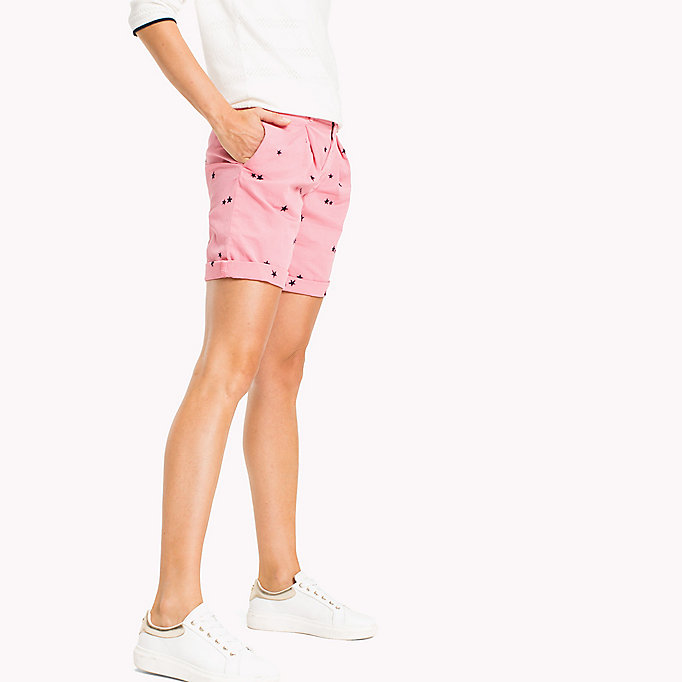 TOMMY HILFIGER Embroidered Regular Fit Shorts - KEENA STAR EMB EGRET / TAPIOCA - TOMMY HILFIGER Femmes - image détaillée 2