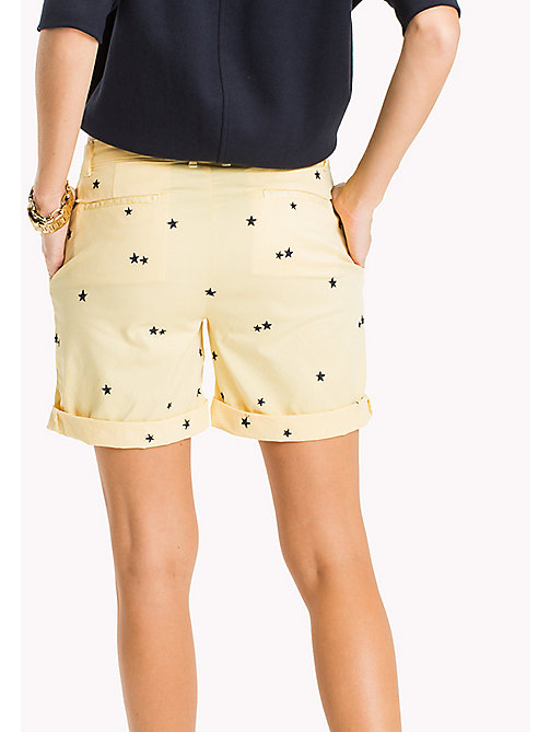 TOMMY HILFIGER Embroidered Regular Fit Shorts - KEENA STAR EMB EGRET / SUNSHINE - TOMMY HILFIGER Vacation Style - detail image 1