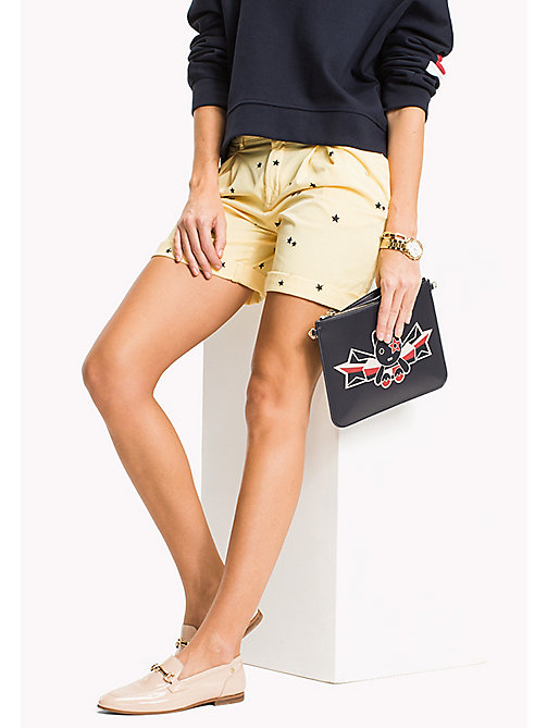 TOMMY HILFIGER Embroidered Regular Fit Shorts - KEENA STAR EMB EGRET / SUNSHINE - TOMMY HILFIGER Vacation Style - main image