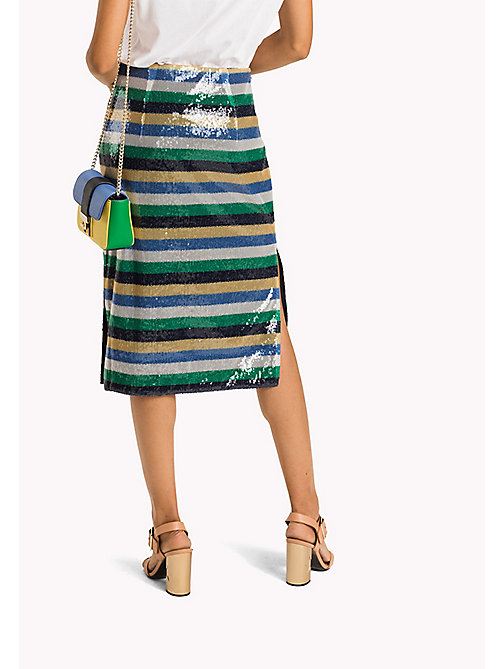 TOMMY HILFIGER Sequin Stripe Midi Skirt - SEQUIN STP / JELLY BEAN - TOMMY HILFIGER Occasion wear - detail image 1