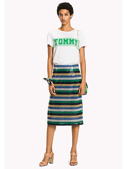 TOMMY HILFIGER Sequin Stripe Midi Skirt - SEQUIN STP / JELLY BEAN - TOMMY HILFIGER NEW IN - main image