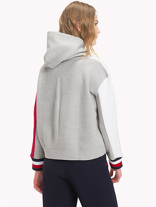 TOMMY HILFIGER Sweat colour-block à capuche - LIGHT GREY HTR - TOMMY HILFIGER Sweats à capuche - image détaillée 1