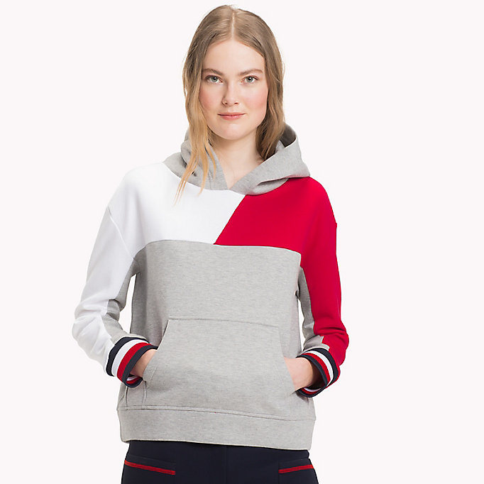 TOMMY HILFIGER Colour-Blocked Hoodie - BLACK BEAUTY - TOMMY HILFIGER Women - main image