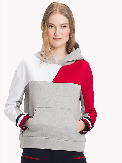 TOMMY HILFIGER Felpa in color block con cappuccio - LIGHT GREY HTR - TOMMY HILFIGER Athleisure - immagine principale