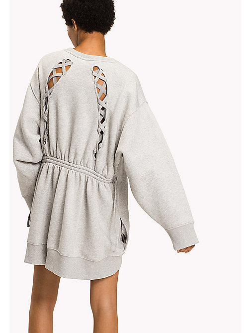 TOMMY HILFIGER Gigi Hadid Sweatshirt Dress - LIGHT GREY HTR - TOMMY HILFIGER Jumper Dresses - detail image 1