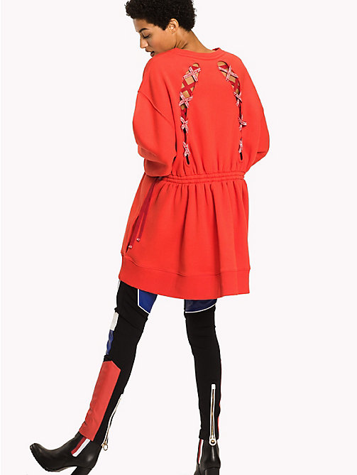 TOMMY HILFIGER Gigi Hadid Sweatshirt Dress - FLAME SCARLET - TOMMY HILFIGER Jumper Dresses - detail image 1