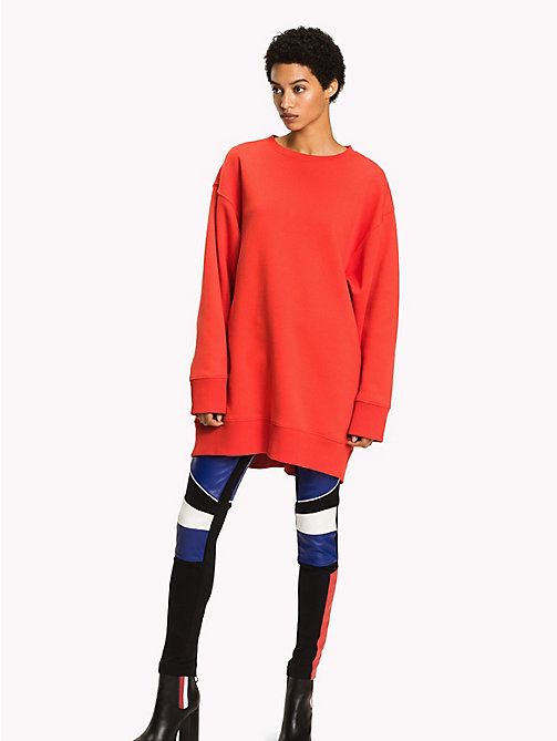 TOMMY HILFIGER Gigi Hadid Sweatshirt Dress - FLAME SCARLET - TOMMY HILFIGER Women - main image
