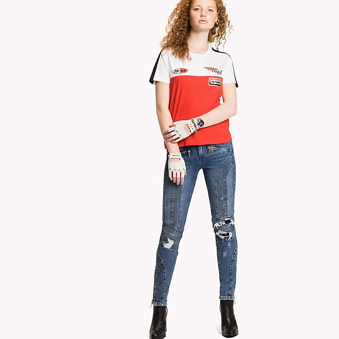 TOMMY HILFIGER Gigi Hadid speed T-shirt - BLACK BEAUTY / CLASSIC WHITE - TOMMY HILFIGER Dames - main image