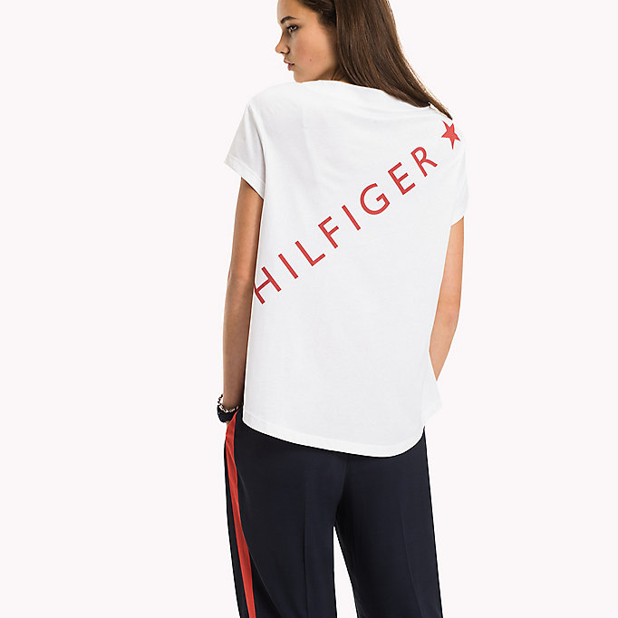 TOMMY HILFIGER Logo Cotton T-Shirt - BLACK BEAUTY - TOMMY HILFIGER Women - detail image 1