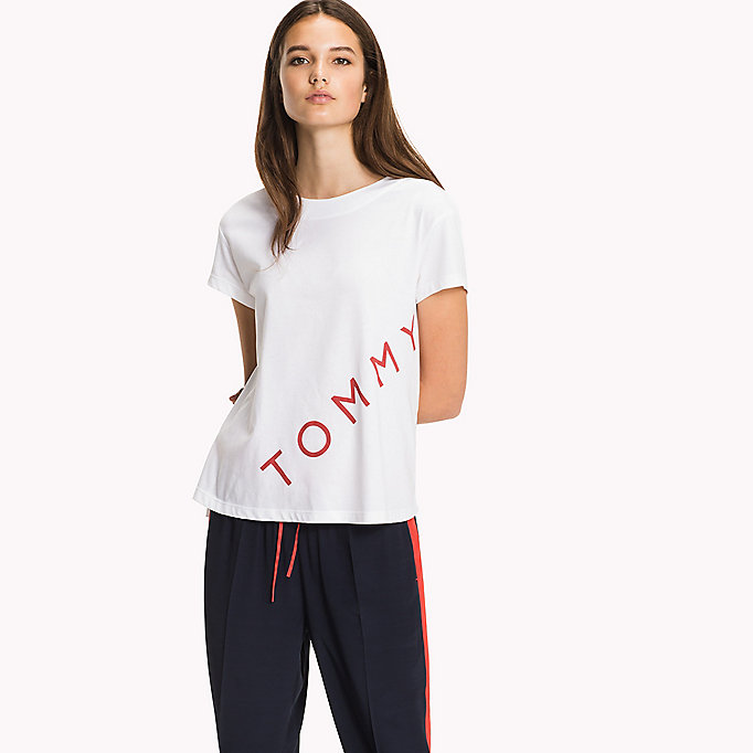 TOMMY HILFIGER Logo Cotton T-Shirt - BLACK BEAUTY - TOMMY HILFIGER Women - main image