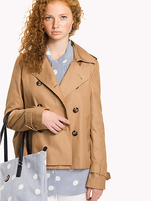 Short Cotton Trench Coat - CLASSIC CAMEL - TOMMY HILFIGER Clothing - main image
