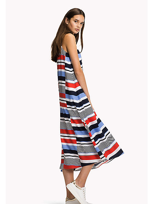 Stripe Midi Dress - SPEED PATCHWORK STP / BLACK BEAUTY - TOMMY HILFIGER Clothing - main image