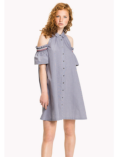 TOMMY HILFIGER Off-Shoulder Dress - NAVY / WHITE GINGHAM - TOMMY HILFIGER Dresses & Skirts - main image