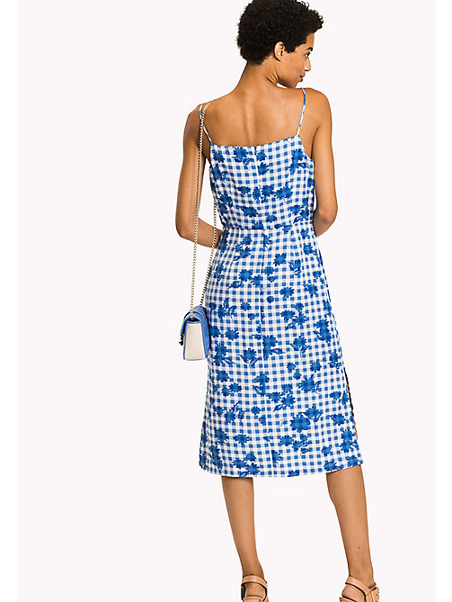 TOMMY HILFIGER V-Neck Midi Dress - TROPHY FLORAL OVERPRINT GINGHAM PRT / RE - TOMMY HILFIGER Dresses & Skirts - detail image 1