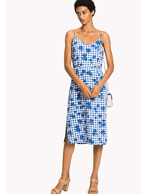 TOMMY HILFIGER V-Neck Midi Dress - TROPHY FLORAL OVERPRINT GINGHAM PRT / RE - TOMMY HILFIGER Midi - main image