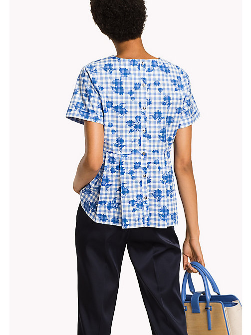 TOMMY HILFIGER Pleated Cotton Top - TROPHY FLORAL OVERPRINT GINGHAM PRT / RE - TOMMY HILFIGER NEW IN - detail image 1