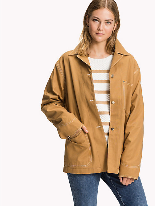 TOMMY HILFIGER Cotton Canvas Patch Pocket Coat - CLASSIC CAMEL - TOMMY HILFIGER New arrivals - main image