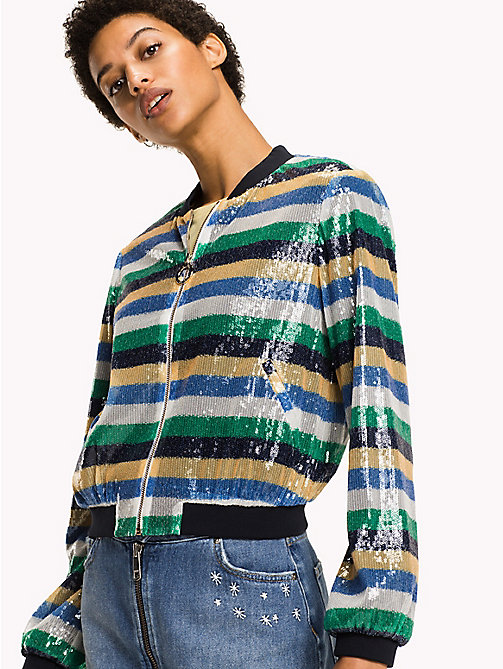 TOMMY HILFIGER Sequin Stripe Bomber Jacket - SEQUIN STP / JELLY BEAN - TOMMY HILFIGER Clothing - main image