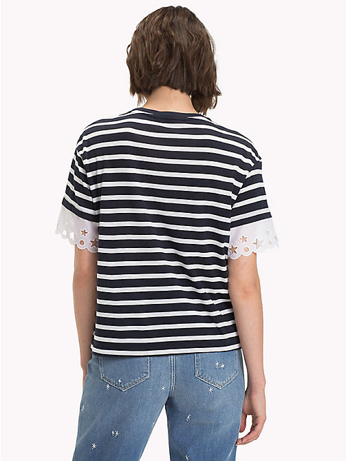 TOMMY HILFIGER Lace Sleeve T-Shirt - MIDNIGHT / SNOW WHITE STP -  T-Shirts - detail image 1