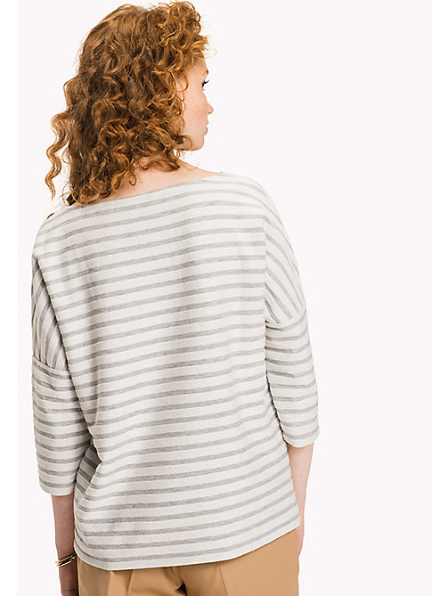 Stripe Boat Neck Top - LIGHT GREY HTHR / SNOW WHITE STP -  Clothing - detail image 1