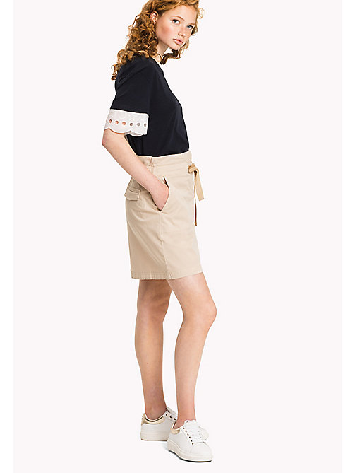 TOMMY HILFIGER Organic Cotton Bow Skirt - PEBBLE - TOMMY HILFIGER Skirts - main image