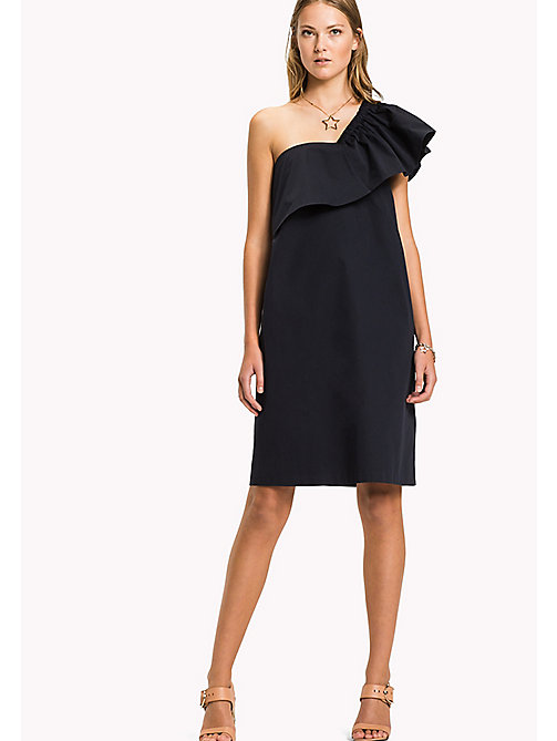 TOMMY HILFIGER Asymmetrical Neck Ruffle Dress - MIDNIGHT - TOMMY HILFIGER Occasion wear - main image