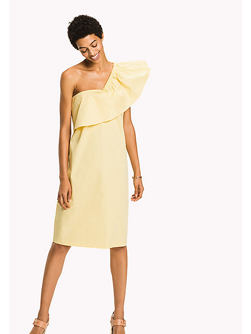 TOMMY HILFIGER Asymmetrical Neck Ruffle Dress - SUNSHINE - TOMMY HILFIGER Vacation Style - main image