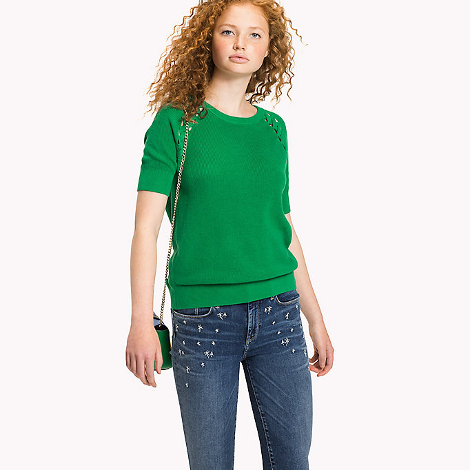 TOMMY HILFIGER Cable Detail Regular Fit Jumper - MIDNIGHT - TOMMY HILFIGER Women - main image