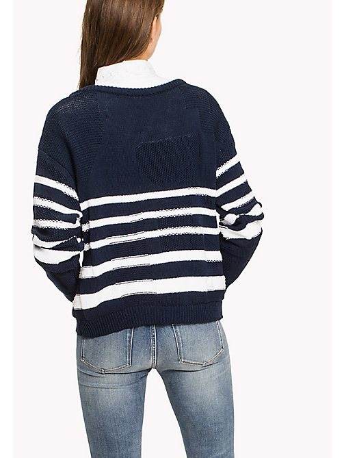 TOMMY HILFIGER Graphic Stripe Slouchy Jumper - MIDNIGHT / SNOW WHITE - TOMMY HILFIGER Jumpers - detail image 1