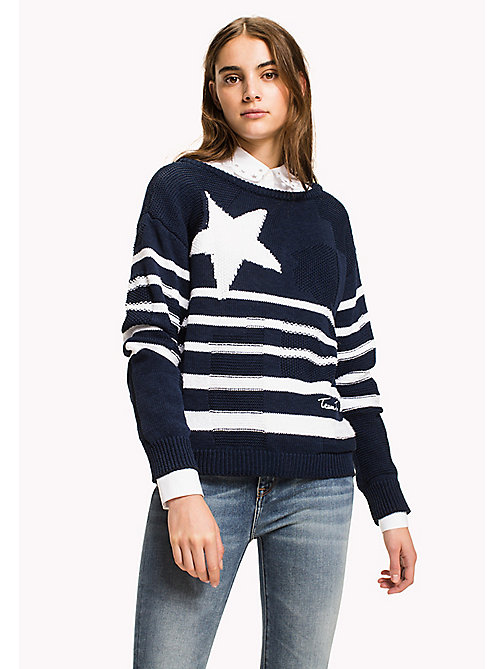 TOMMY HILFIGER Graphic Stripe Slouchy Jumper - MIDNIGHT / SNOW WHITE - TOMMY HILFIGER Jumpers - main image