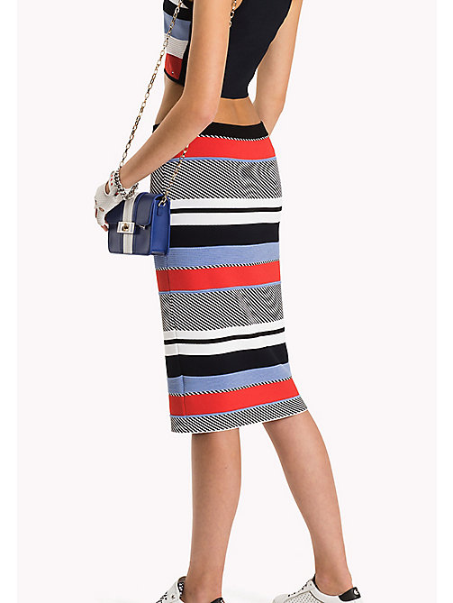 TOMMY HILFIGER Stripe Fitted Pencil Skirt - CLASSIC WHITE / BLACK BEAUTY / MULTI - TOMMY HILFIGER Skirts - detail image 1