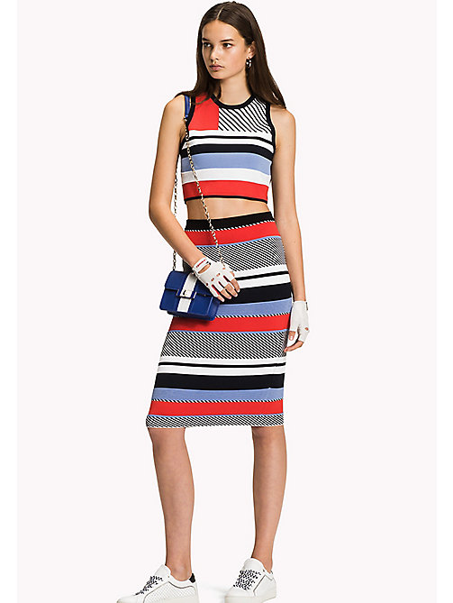 TOMMY HILFIGER Stripe Fitted Pencil Skirt - CLASSIC WHITE / BLACK BEAUTY / MULTI - TOMMY HILFIGER Skirts - main image