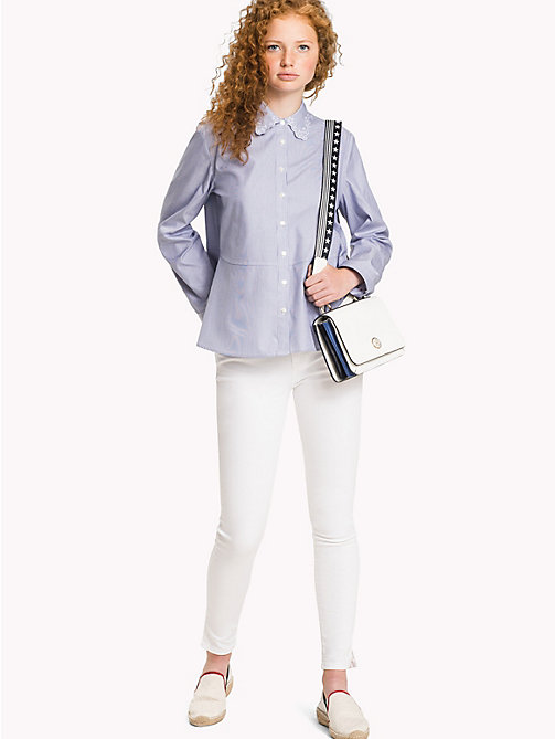 TOMMY HILFIGER Collar Embroidered Oxford Shirt - CLASSIC WHITE / MIDNIGHT STP - TOMMY HILFIGER Women - main image