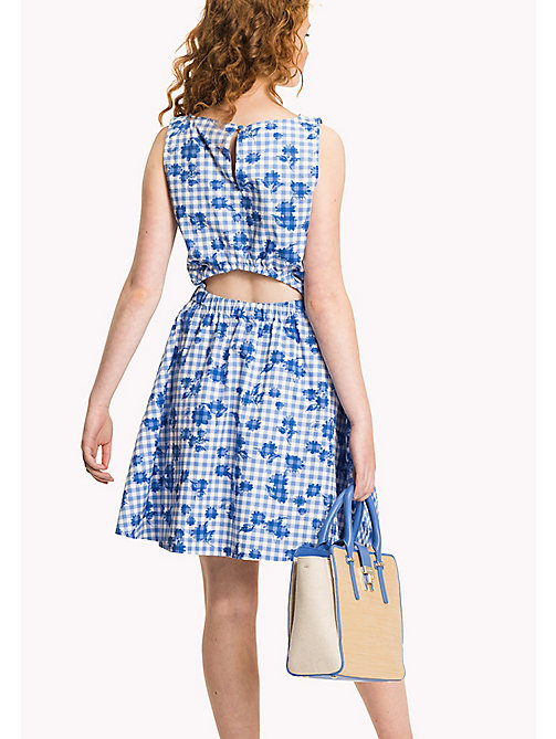 TOMMY HILFIGER Fitted Floral Dress - TROPHY FLORAL OVERPRINT GINGHAM PRT / RE - TOMMY HILFIGER Midi - detail image 1