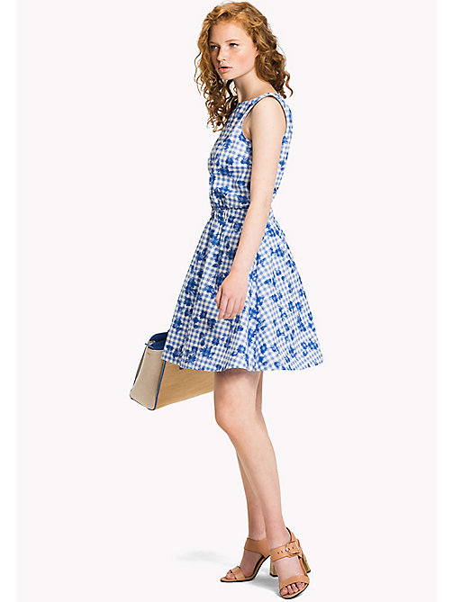 TOMMY HILFIGER Fitted Floral Dress - TROPHY FLORAL OVERPRINT GINGHAM PRT / RE - TOMMY HILFIGER Occasion wear - main image