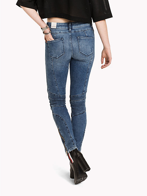 TOMMY HILFIGER Gigi Hadid Destroyed Moto Jean - MID BLUE - TOMMY HILFIGER Clothing - detail image 1