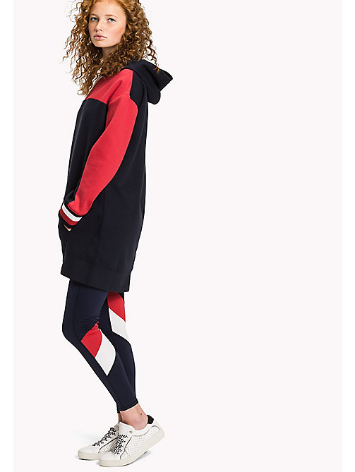 TOMMY HILFIGER Colour-Blocked Hoodie Dress - MIDNIGHT - TOMMY HILFIGER Mini - main image