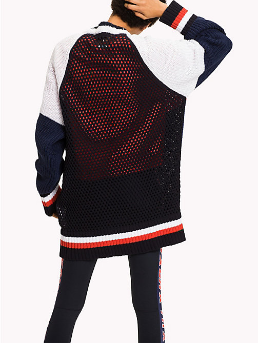 TOMMY HILFIGER Gigi Hadid Color Block Cardigan - MIDNIGHT  / FLAME SCARLET / CLASSIC WHIT - TOMMY HILFIGER Clothing - detail image 1