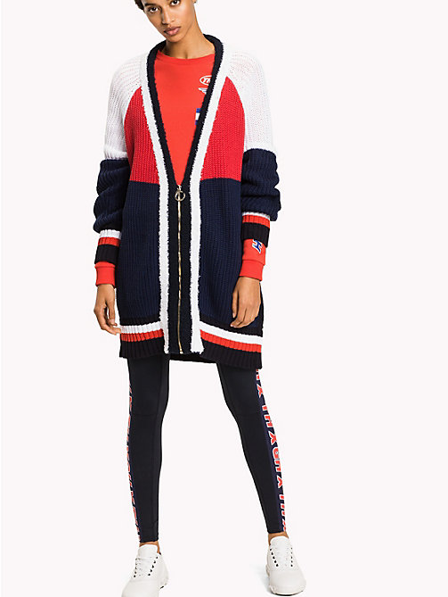 TOMMY HILFIGER Gigi Hadid Color Block Cardigan - MIDNIGHT  / FLAME SCARLET / CLASSIC WHIT - TOMMY HILFIGER Clothing - main image